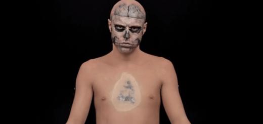 全身タトゥーの男性をファンデーションで元の姿に戻せるのか?