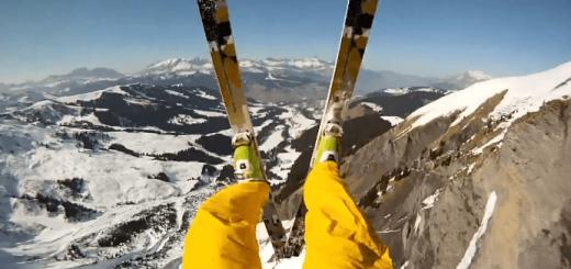 【ド迫力】雪山スキー中に崖から飛び降りる瞬間
