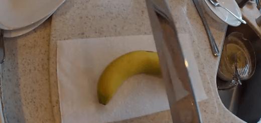 【衝撃】想像のはるか斜め上…シュールすぎるバナナの切り方