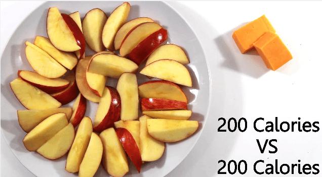 食品別に200キロカロリー分の量を取り分けてみた