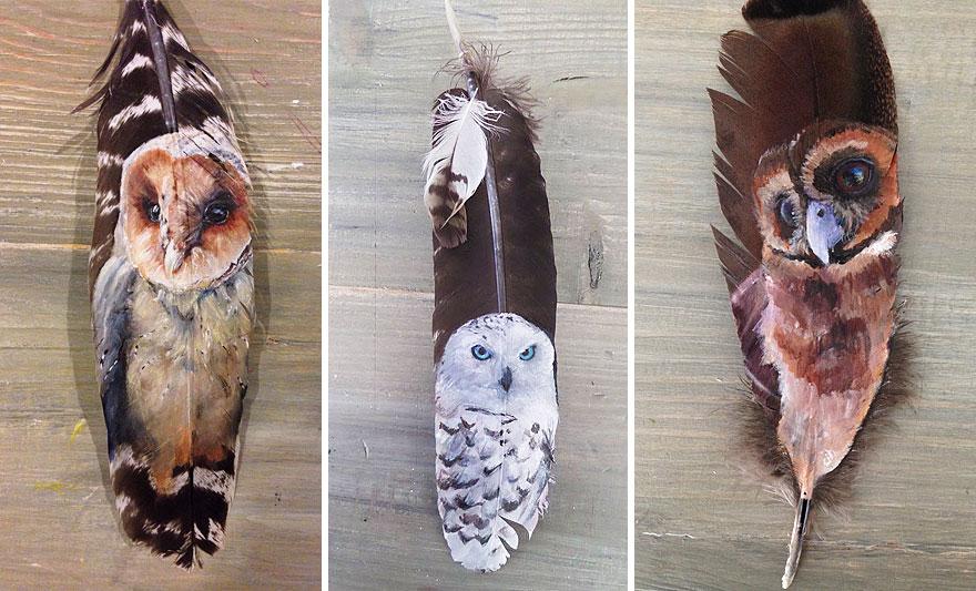 真に迫るリアル感…! 鳥の羽根に描かれた鳥たちが息を呑む美しさ